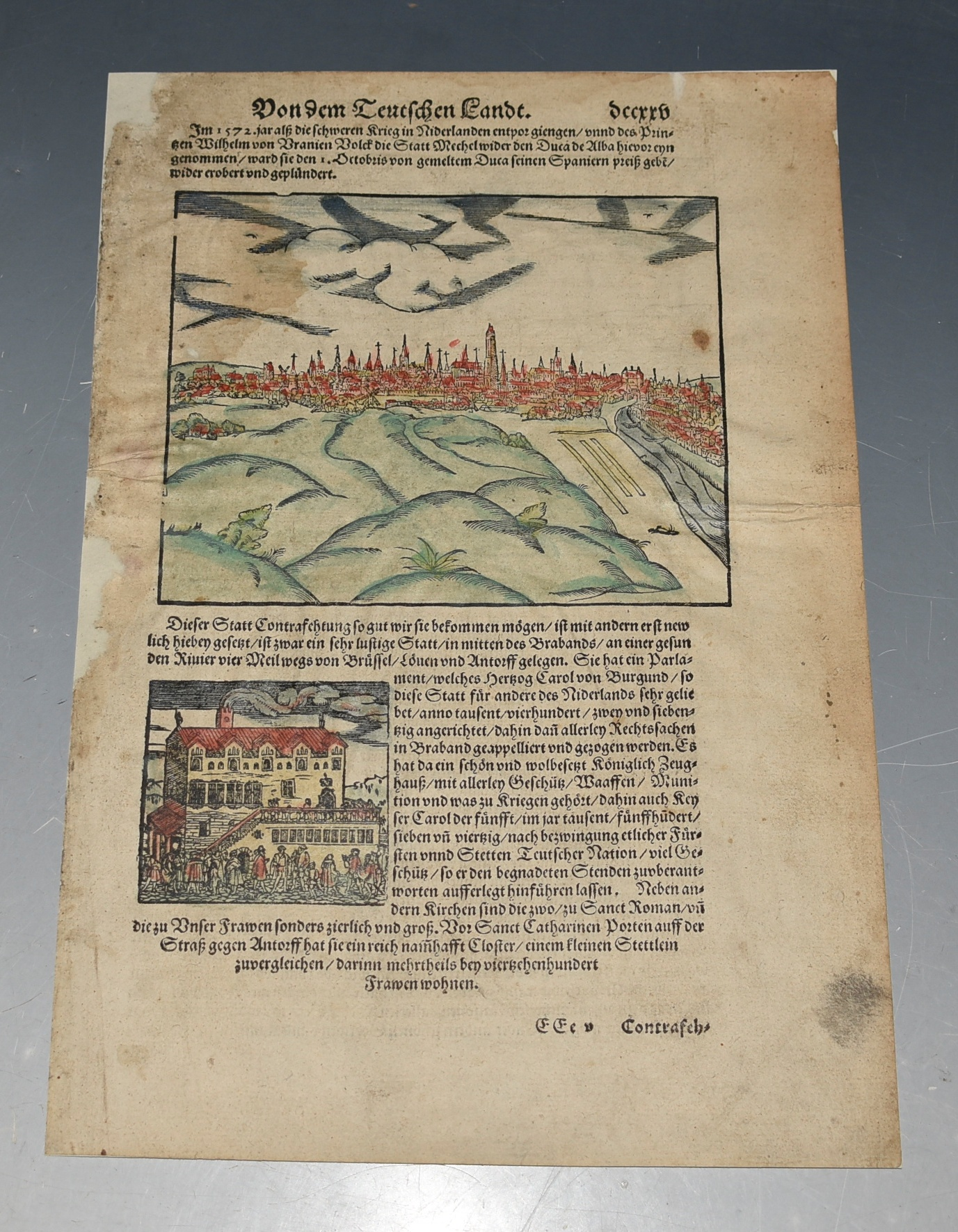 Image for EARLY View Constraschtung der Statt Herzogen Bosch. S-HERTOGENBOSCH Handgekleurde houtsnede van de stad, met aan verso een stadsgezicht op Mechelen. Hand-colored woodcut of the city, with a cityscape of Mechelen on the reverse.