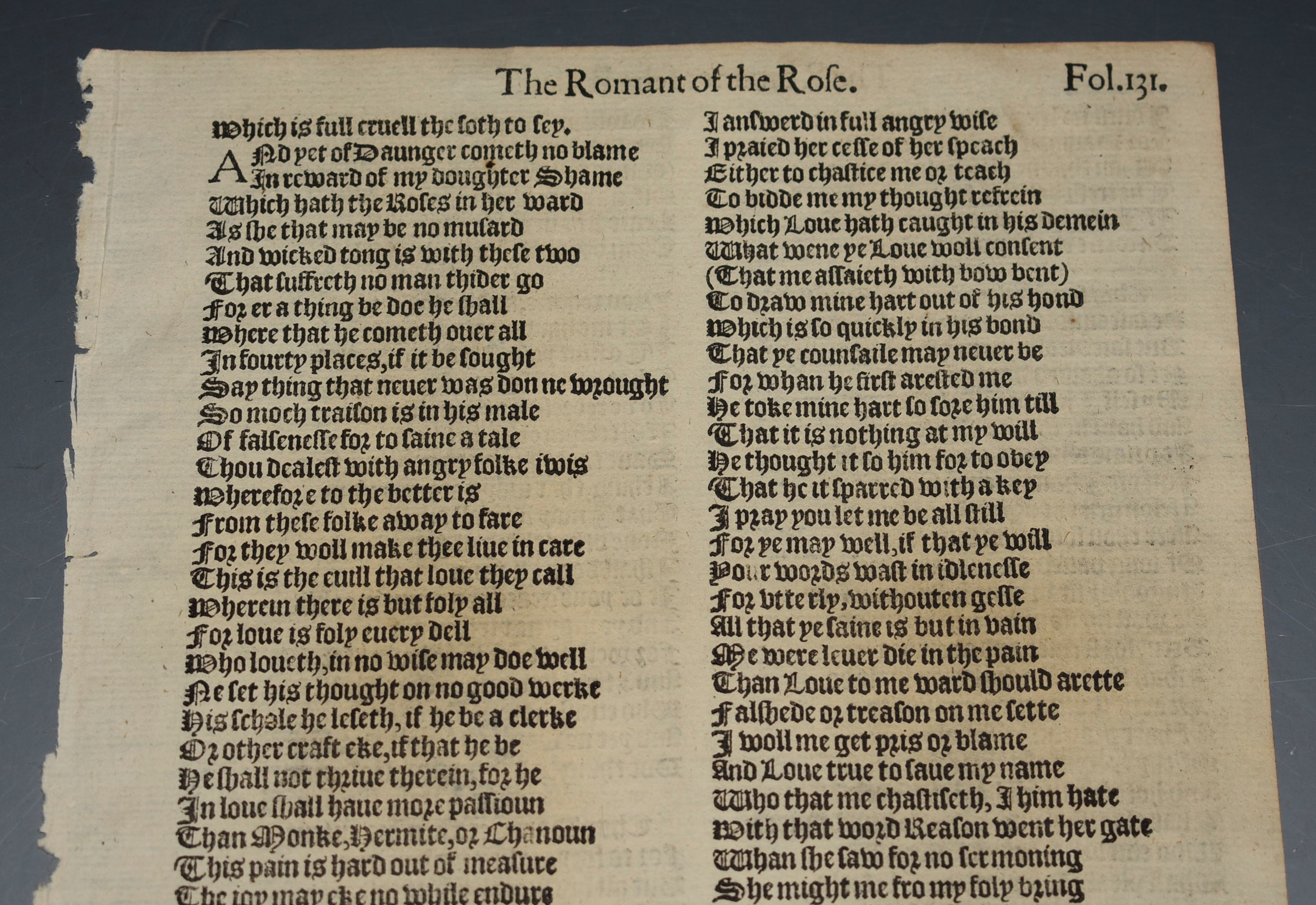 Image for Early Printing Leaf from Romance of the Rose by Geoffrey Chaucer 1597