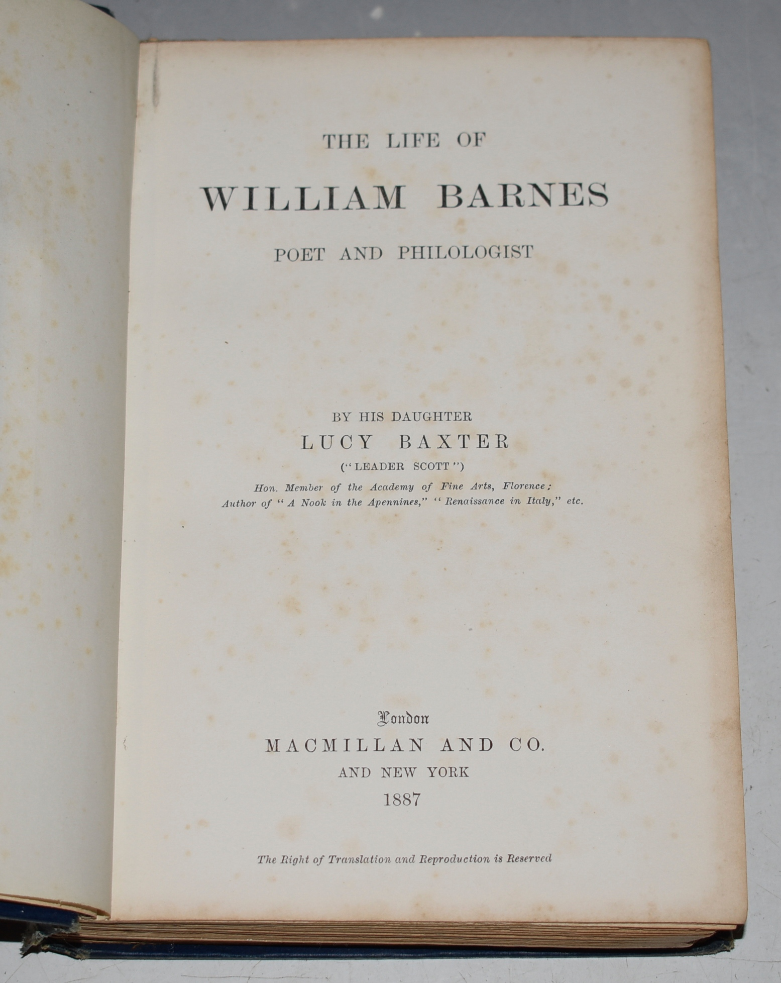Image for The Life of William Barnes. Poet and Philologist.
