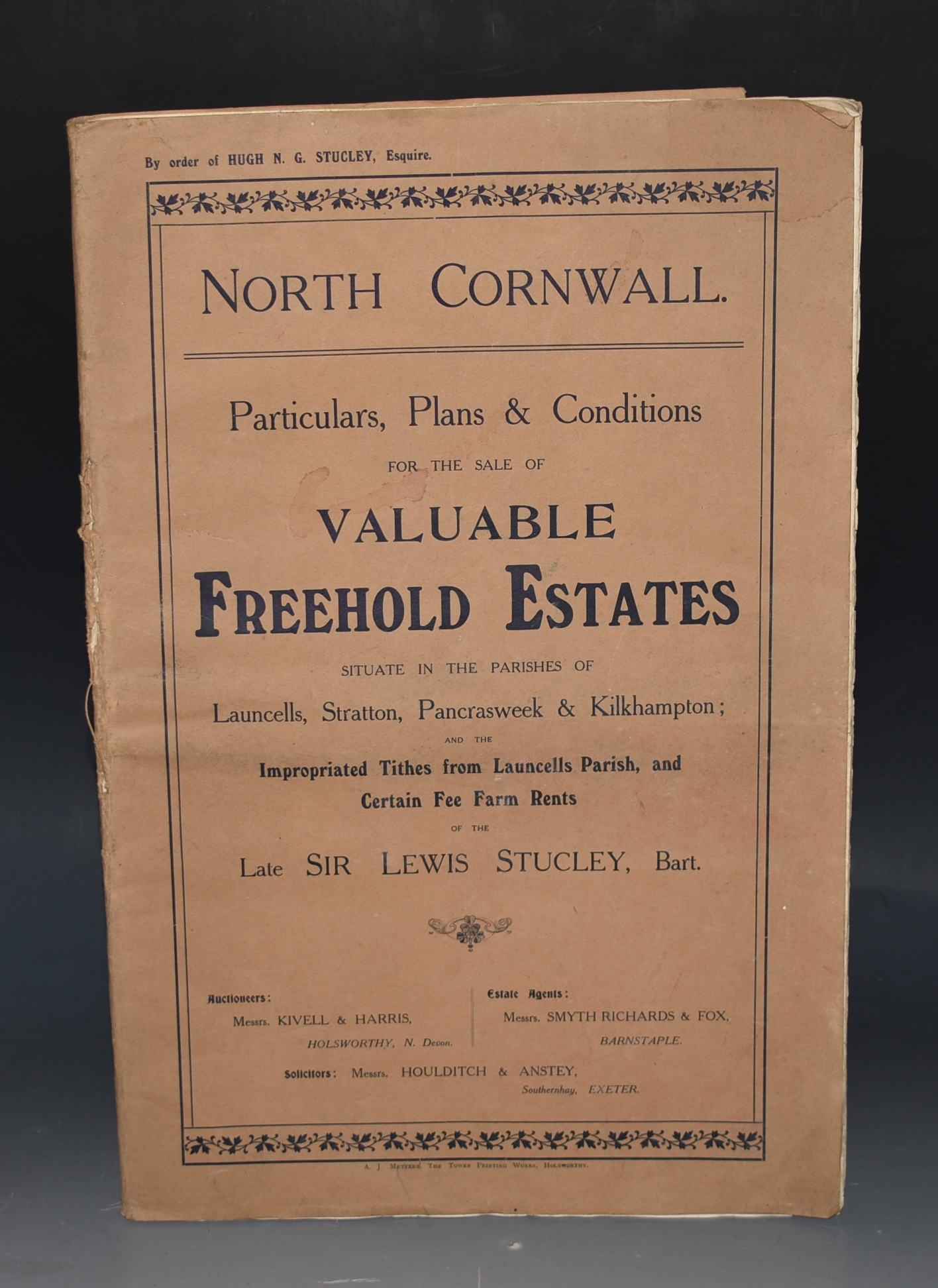 "Image for Particulars, Plans & Conditions For The Sale of Valuable Freehold Estates in the Parishes of Launcells, Stratton, Pancrasweek & Kilhampton, of the Late Sir Lewis Stucley. North Cornwall. North Cornwall, in the Parish of Launcells. Particulars with Plans of about 2,437 Acres, of the Late Sir Lewis Stucley's Freehold and Leasehold Estates, situate in the above parish, comprising ""Launcells Barton,"" &c &c... and Several Small Holdings, Cottages and Valuable Accommodation Lands. To be offered for Sale by Public Auction by Messrs. Kivell & Harris. 1911. By Order of Hugh N.G. Stucley, Esq."