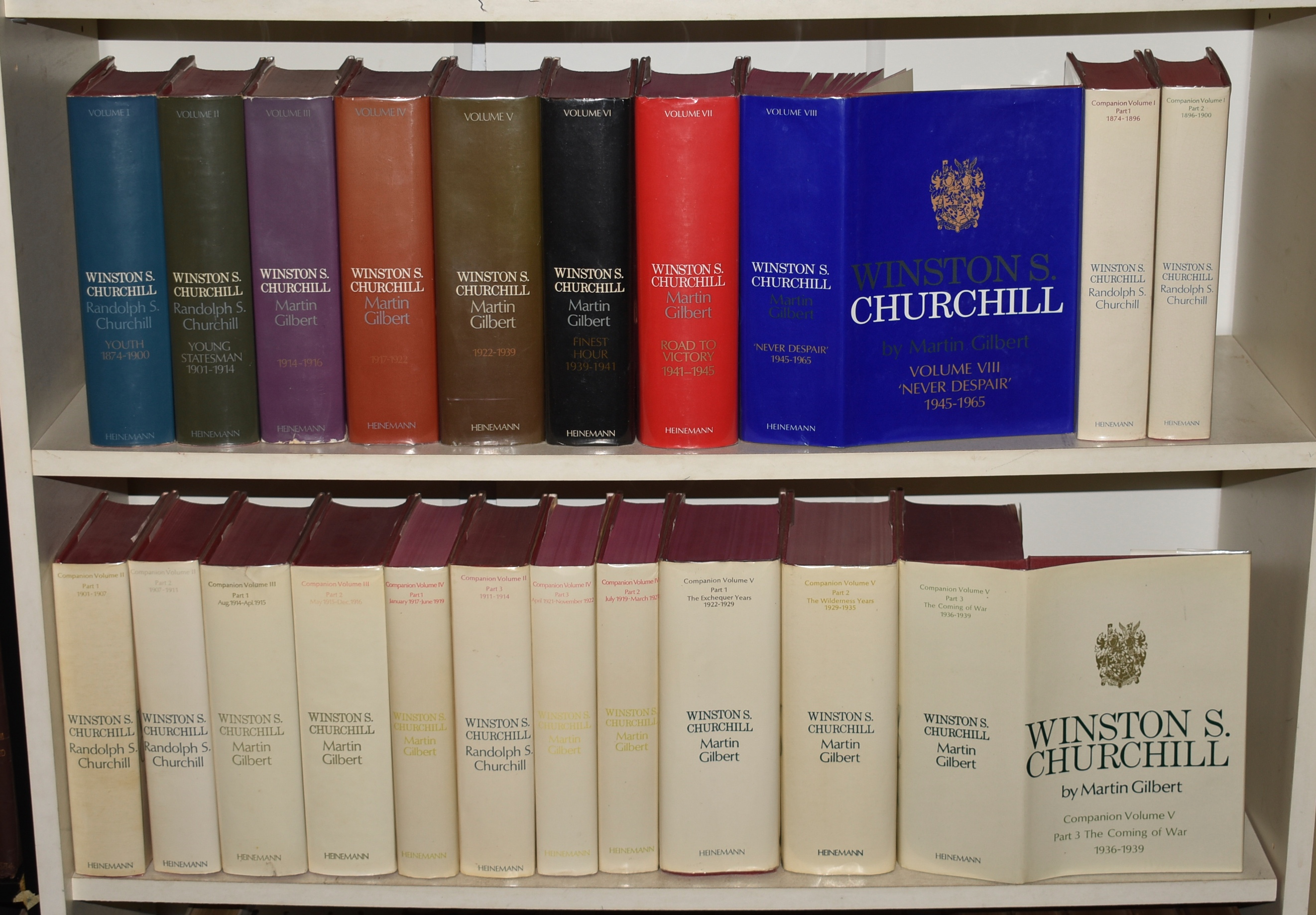 Image for Winston S.Churchill 1874 - 1965. Complete 21 Volume Set. The Complete 8 Volumes Of The Main Narrative, Covering The Entire Period Of Churchill's Life, 1874-1965; Plus The First 13 Companion Volumes, Which Go Up To 1939. 21 Vols. [Vol I: Youth 1874-1900, +2 Companion Vols; Vol II: Young Statesman 1901-1914, +3 Companion Vols; Vol III: 1914-1916, +2 Companion Vols; Vol IV: 1917-1922, +3 Companion Vols; Vol V: 1922-1939, +3 Companion Vols; Vol VI: Finest Hour 1939-1941; Vol VII: Road To Victory 1941-1945; Vol VIII: 'Never Despair' 1945-1965.]