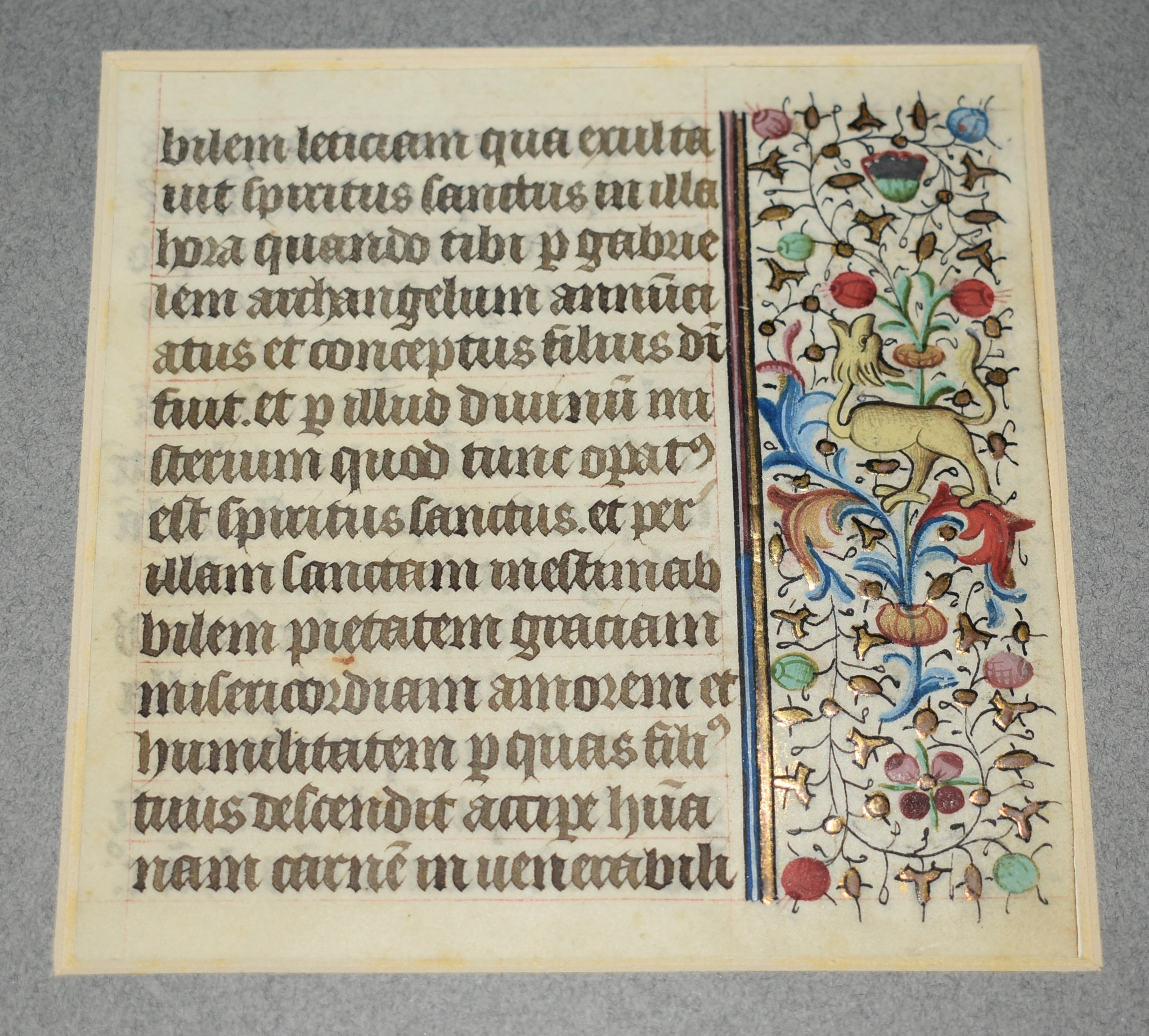 Image for Original ILLUMINATED Vellum LEAF FROM A BOOK OF HOURS. A 15th century French leaf, from a Manuscript Book of Hours, on vellum.