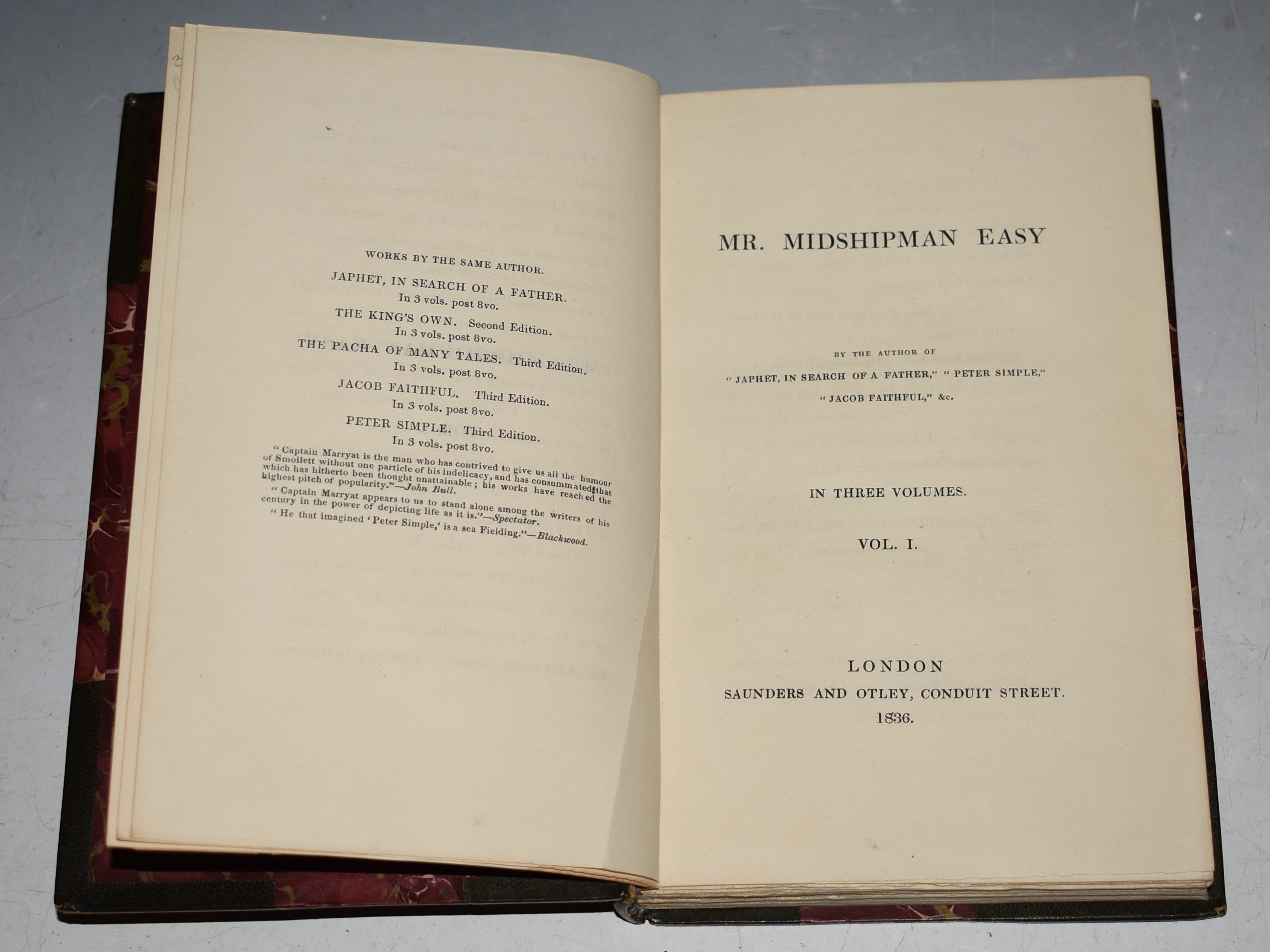 "Image for Mr. Midshipman Easy. By The Author of ""Japhet in Search of A Father,"" ""Peter Simple,"" ""Jacob Faithful,"" &c. In Three Volumes."