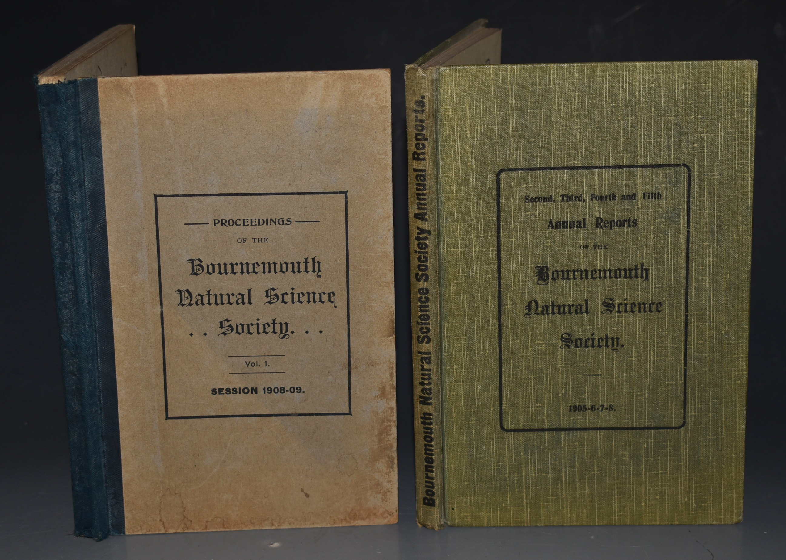 Image for Annual Reports of the Bournemouth Natural Science Society. Two Volumes: Second, Third, Fourth and Fifth Annual Reports 1905,6,7,8. AND Volume 1, Session 1908-9 Proceedings.
