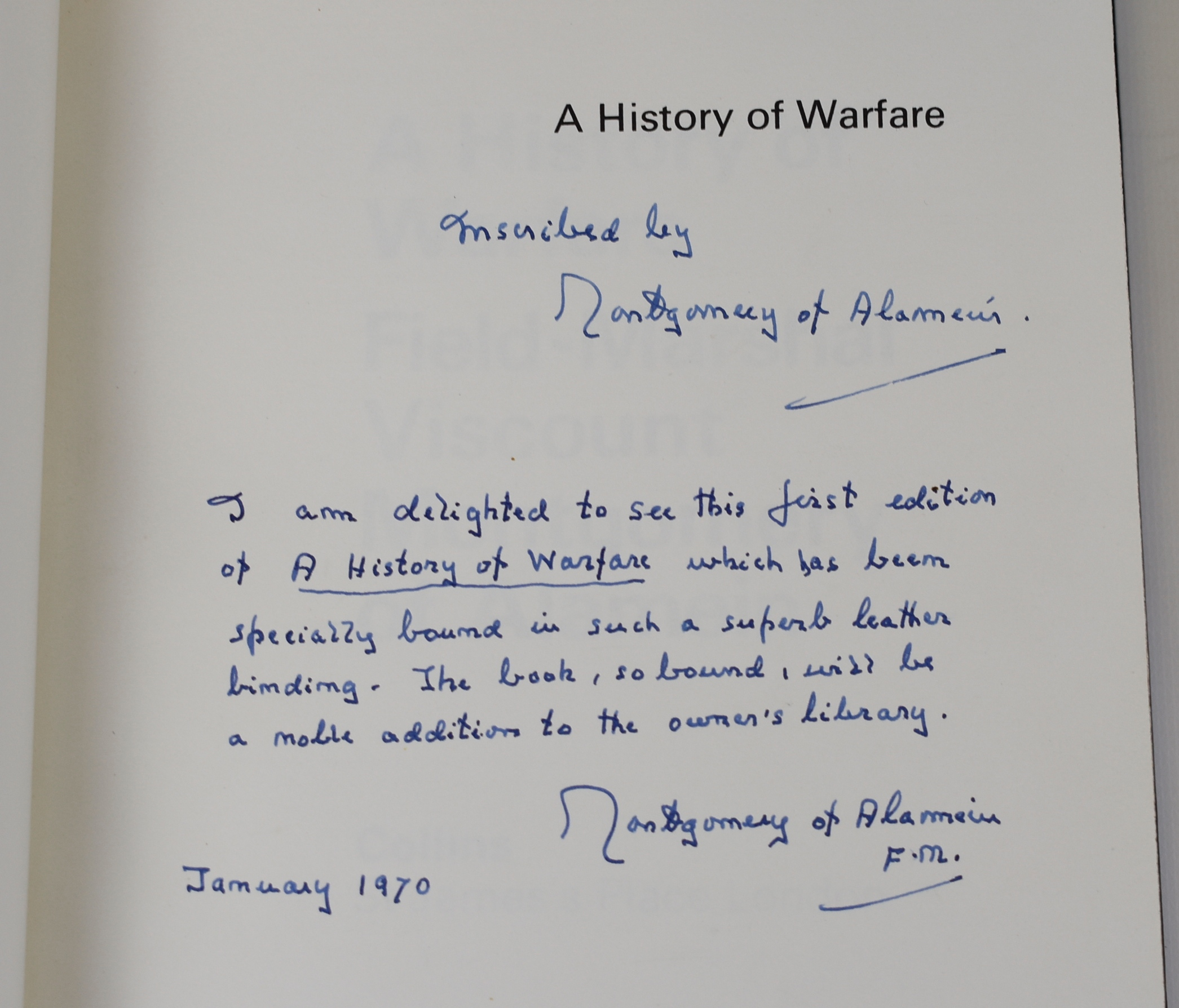 Image for A History of Warfare. UNIQUE DELUXE COPY INSCRIBED BY MONTY Bound by Sangorski & Sutcliffe
