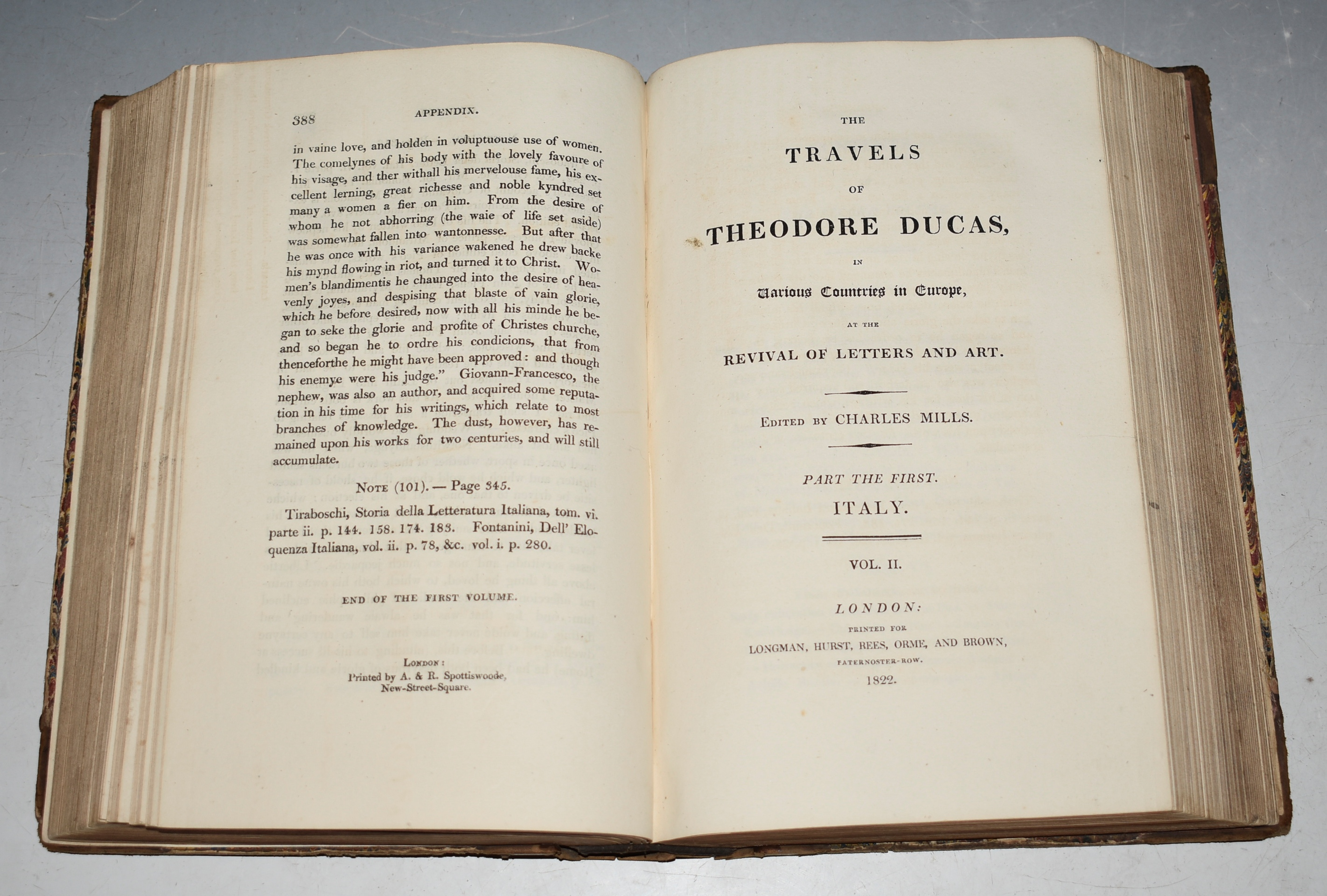 Image for The Travels of Theodore Ducas, In Various Countries in Europe, at the Revival of Letters and Art. Edited by Charles Mills. Two Parts Bound in One Volume: Part The First. Italy.