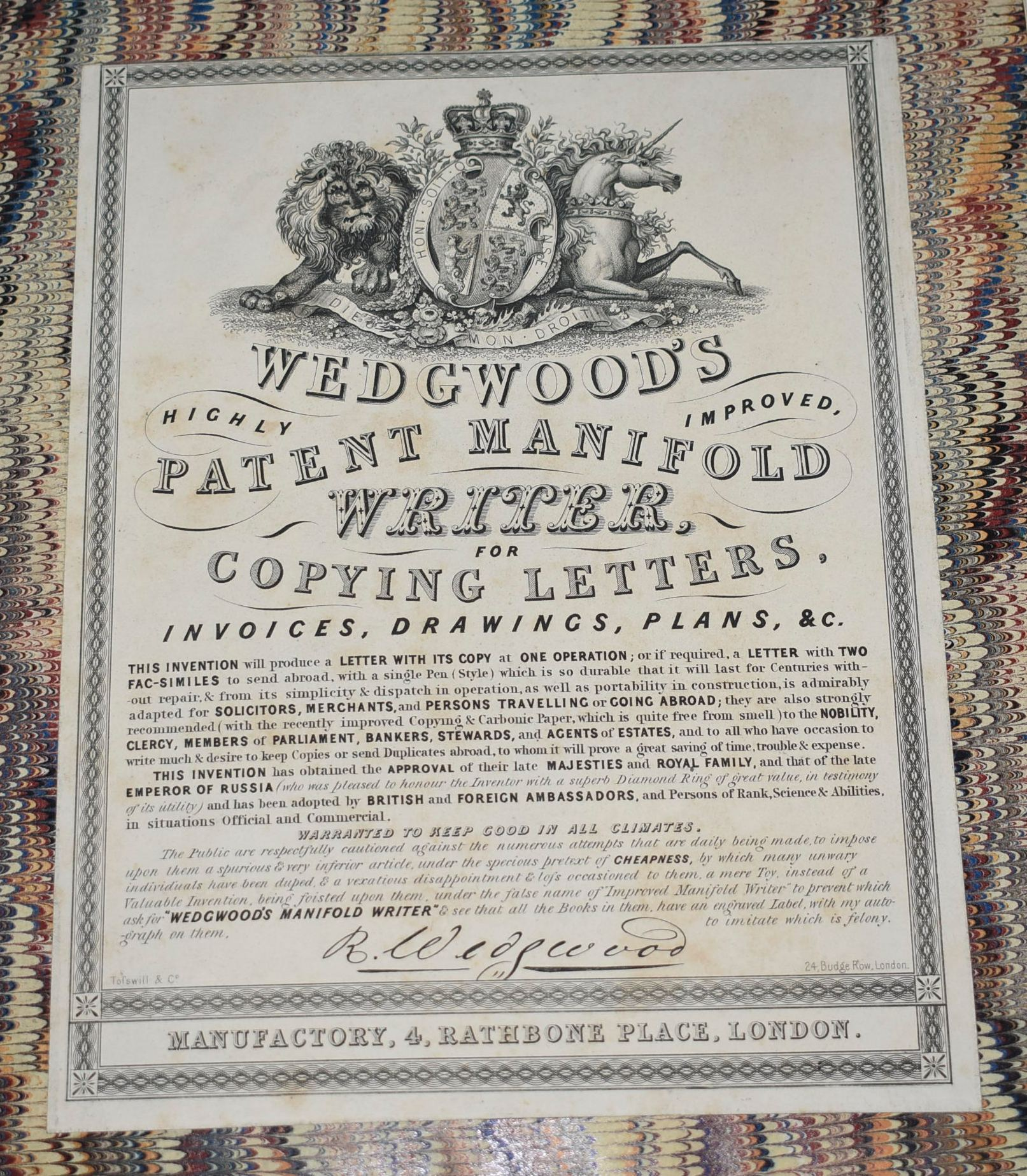Image for Wedgwood's Patent Manifold Writer for Copying Letters, Invoices, Drawings, Plans &c.