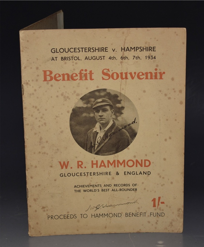 Image for The W. R. Hammond Benefit Souvenir. Gloucestershire V. Hampshire, Played at Bristol August 4th, 6th & 7th 1934. The Greatest All-Round Cricketer of the Present Generation. SIGNED.
