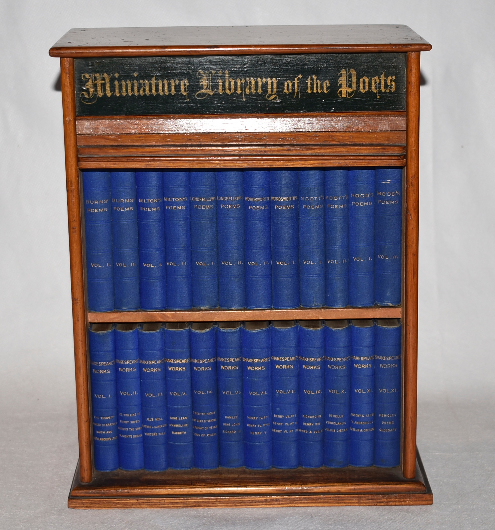 "Image for Miniature Library of The Poets. Twenty Four Volumes in Oak Case with rolling ""Trambour"" front door. Shakespeare Complete Works in 12 volumes; Burns, Milton, Longfellow, Wordsworth, Scott & Hood's Poems, each in 2 volumes."