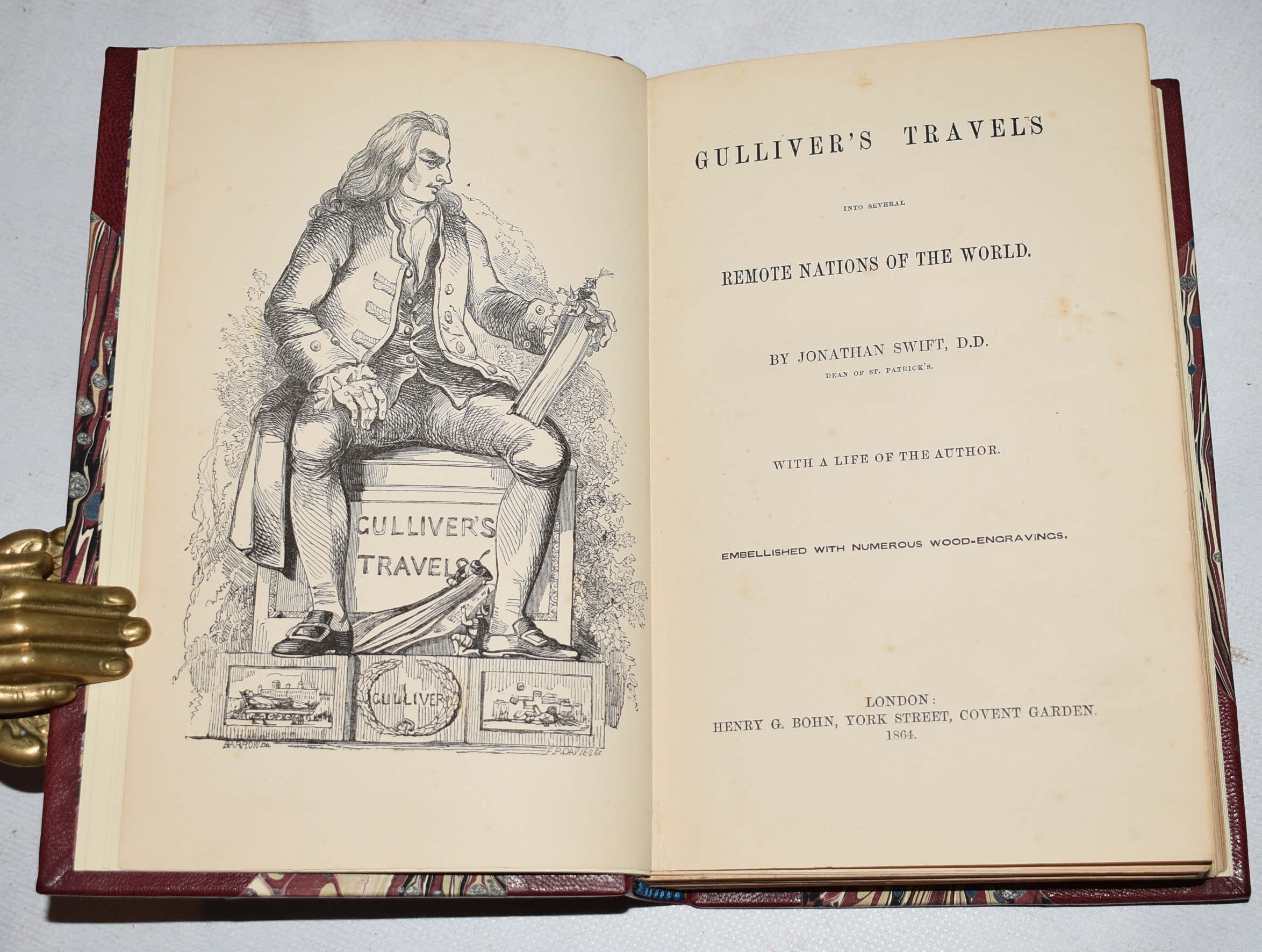 Image for Gulliver's Travels Into several remote parts of The World. With a Life of The Author. Embellished with Numerous Wood-Engravings. In Stunning fine leather binding.