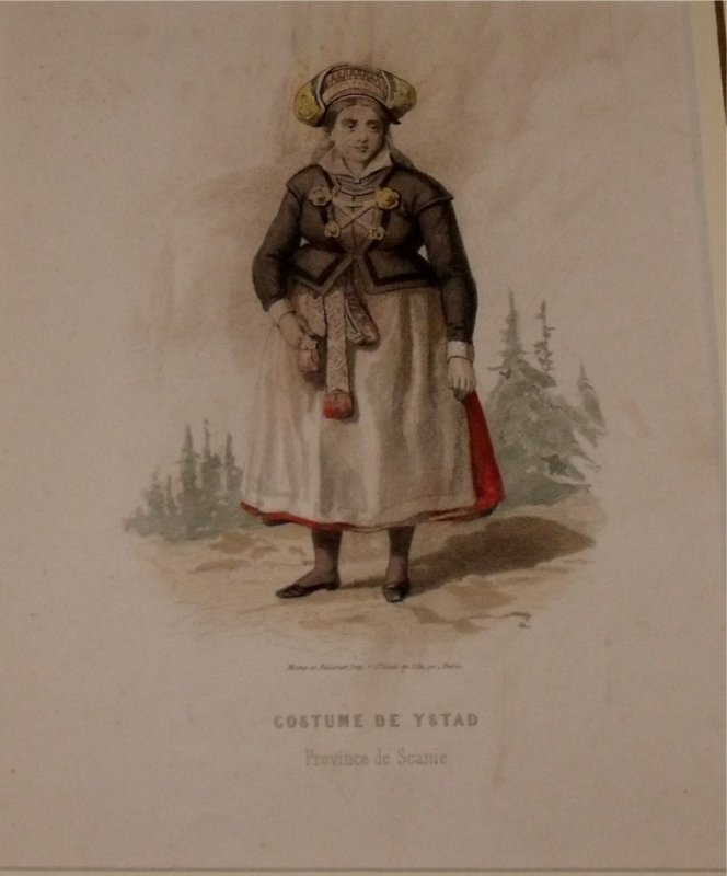 Image for Attractive original engraving of Costume de Ystad. (Province de Scanie). Woman from Ystad in the Province of Scanie.